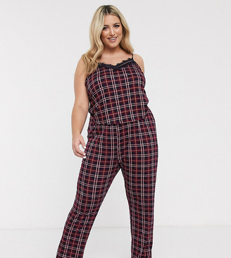 New Look Plus Curve pyjama trousers in red pattern