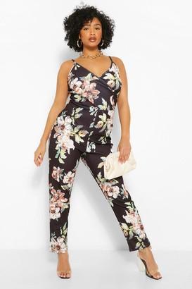 boohoo Plus Floral Wrap Jumpsuit