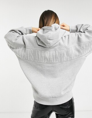 AllSaints Talon oversized hoodie with embroidered logo back in grey