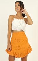 Showpo All Day Ruffle Mini Skirt in tangerine embroidery - 6 (XS) Mini