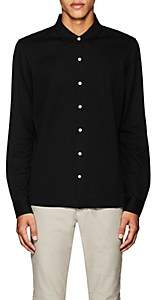 Luciano Barbera MEN'S COTTON LONG-SLEEVE POLO SHIRT-BLACK SIZE L