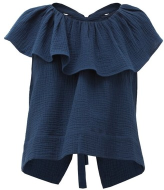 Loup Charmant Dominica Ruffled Cotton-seersucker Blouse - Navy
