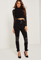 Missguided Faux Leather Quilted Knee Lace Up Leggings Black