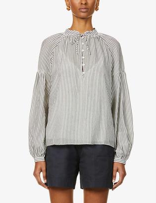 Frame Billow striped cotton-blend top