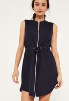 Missguided Blue Zip Front Drawstring Waist Dress