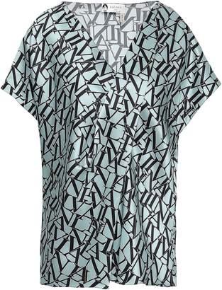 Lanvin Cold-shoulder Printed Silk-satin Top