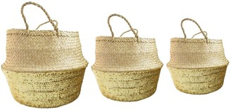 Stuff & Co - Small Gold Seagrass Sequin Basket - Natural/Gold