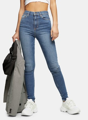 Topshop Womens Tall Mid Blue Wash Jamie Jeans - Mid Stone