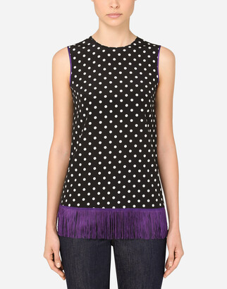 Dolce & Gabbana Polka-Dot Print Charmeuse Blouse With Fringing