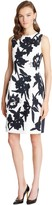 Oscar de la Renta Beaded Leaf Applique Silk Faille Dress