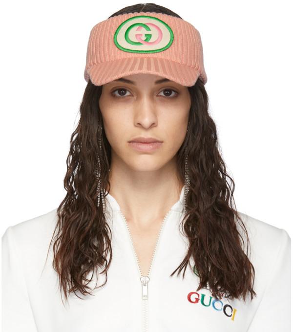 Gucci Pink Wool Interlocking G Visor