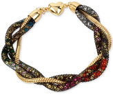 Betsey Johnson Gold-Tone Crystal Mesh Filled Twisted Coil Bracelet