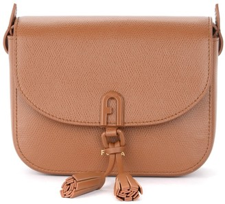 Furla 1972 Mini Shoulder Bag In Tan Leather With Tassels
