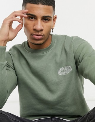 Jack and Jones Originals crew neck sweatshirt with block logo in khaki