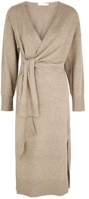 Jonathan Simkhai Skyla Taupe Knitted Wrap Dress