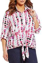 Allison Daley Plus Button Down Tie-Front Dot Print Blouse