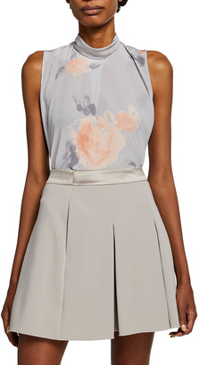 Emporio Armani Watercolor Printed Mock-Neck Sleeveless Top