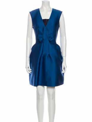 Lanvin Square Neckline Mini Dress Blue