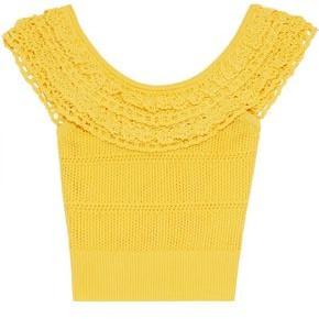 Marissa Webb Tasha Ruffled Crochet-trimmed Open-knit Top