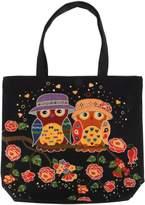Women's Large Canvas Tote, Oversized Eco Shopping Bag (OWL BLACK ROSE) [KIREI obsession]