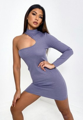 Missguided Gray Rib One Sleeve Cut Out Mini Dress