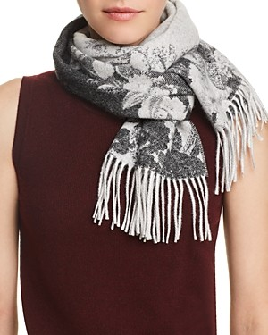 C by Bloomingdale's Blurred Floral Cashmere Scarf - 100% Exclusive