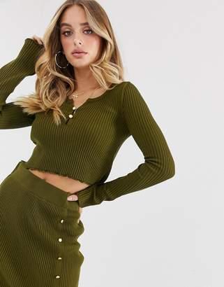 Asos Design DESIGN co-ord scoop neck cropped jumper-Green