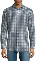 Luciano Barbera Men's Plaid Linen Button-Down Shirt