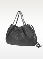 Forzieri Black Perforated Leather Hobo
