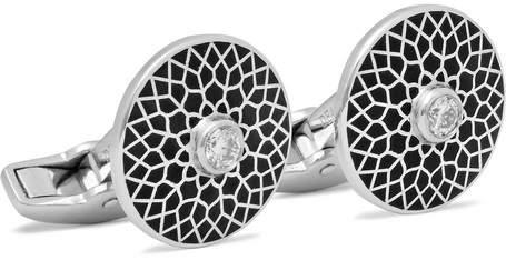 Deakin & Francis Enamelled 18-Karat White Gold Diamond Cufflinks
