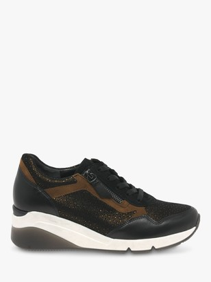 Gabor Jessica Wide Fit Leather Wedge Heeled Trainers, Black/Cognac