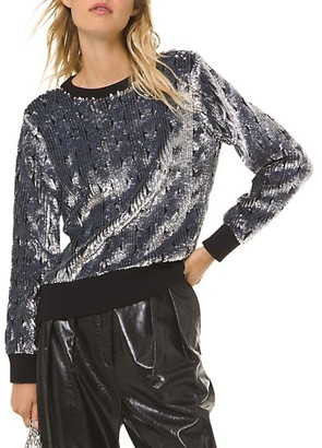MICHAEL Michael Kors Sequin Cable Knit Sweater