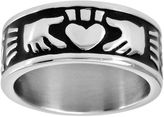 JCPenney FINE JEWELRY Mens 9mm Stainless Steel Claddagh Ring
