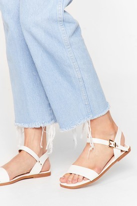 Nasty Gal Womens Don't Go Square Faux Leather Flat Sandals - White - 5, White
