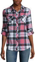 Arizona Long Sleeve Classic Plaid Shirt-Juniors