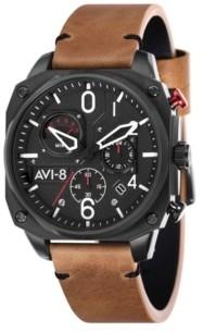 AVI-8 Men's Hawker Hunter Chronograph Retrograde Edition Brown Genuine Leather Strap Watch 45mm