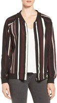Bobeau Women's Vertical Stripe Bomber Jacket