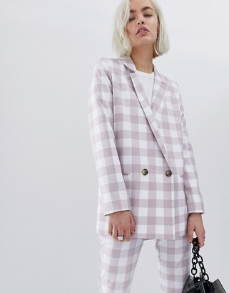 Asos Design DESIGN large gingham suit blazer-Multi