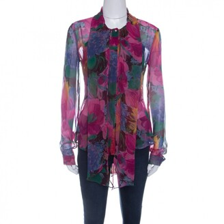 Dolce & Gabbana Multicolor Printed Silk Bow Neck Tie Detail Long Sleeve Blouse M