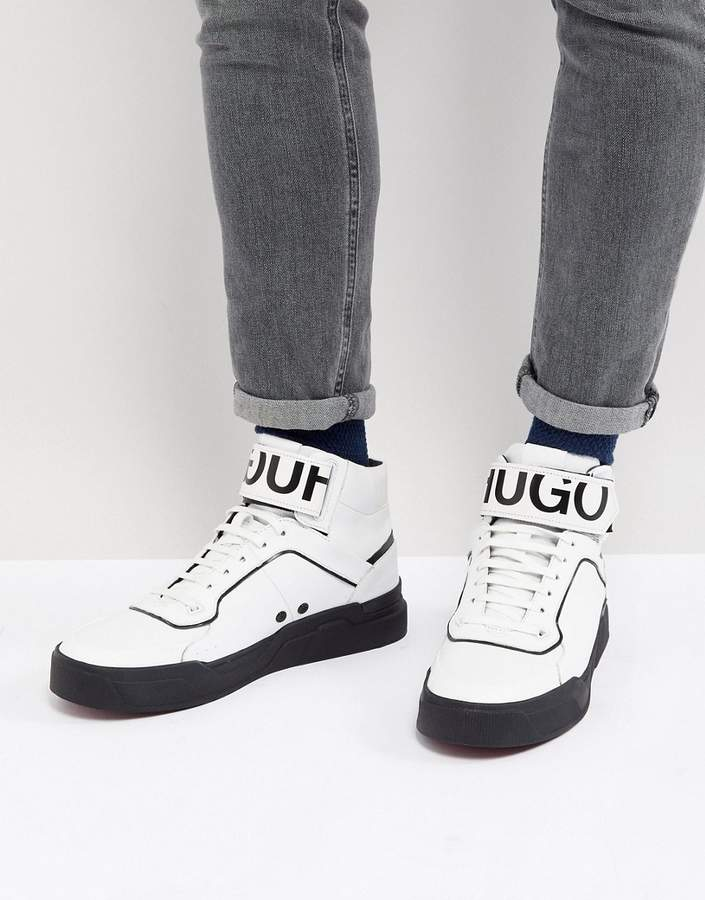 HUGO Reverse Logo Hi Top Sneakers in White