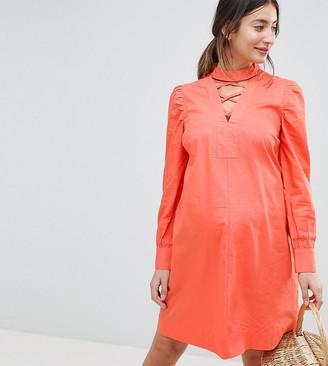 Asos mini dress with Lattice Front-Orange