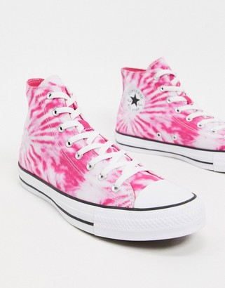 Converse Chuck Taylor All Star Hi Tie Dye trainers in pink and purple