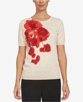 CeCe Cotton Poppy-Print Top