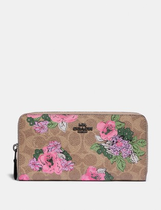 Coach Accordion Zip Wallet In Signature Canvas With Blossom Print