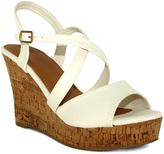 Fashion Focus White Super Wedge Sandal