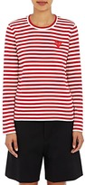 Comme des Garcons Women's Striped Long-Sleeve T-Shirt-RED, WHITE