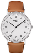 Tissot T1096101603700 T-classic Everytime Leather Strap Watch, Tan/white