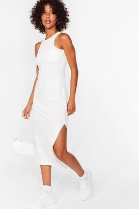 Nasty Gal Womens Explain the Stitch-uation Racer Midi Dress - Off White