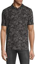 Michael Bastian Men's Leaf-Print Cotton Polo