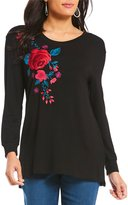 Intro Petites Scoop Neck Embroidered Sweatshirt
